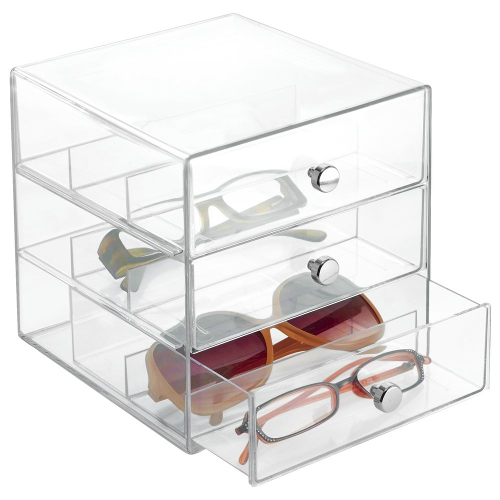 mDesign Stackable Organizer Holder for Eyeglasses, Sunglasses, Reading Glasses - 3 Drawers, Clear by mDesign