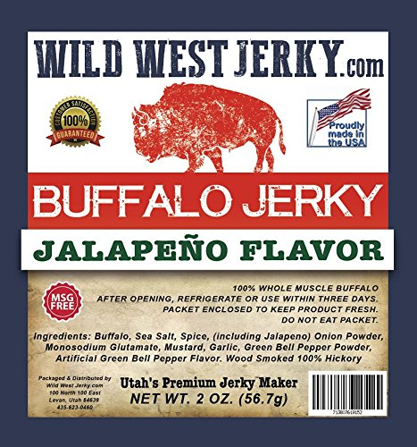 #1 BEST Premium Hand-Stripped Delicious Bold Flavor Buffalo Jalapeño Cajun Pepper Sweet Pepper Teriyaki Mesquite Natural Jerky – Smoked With Hickory Wood by Wild West Jerky (Buffalo Sampler, - Outlet Buffalo Prime