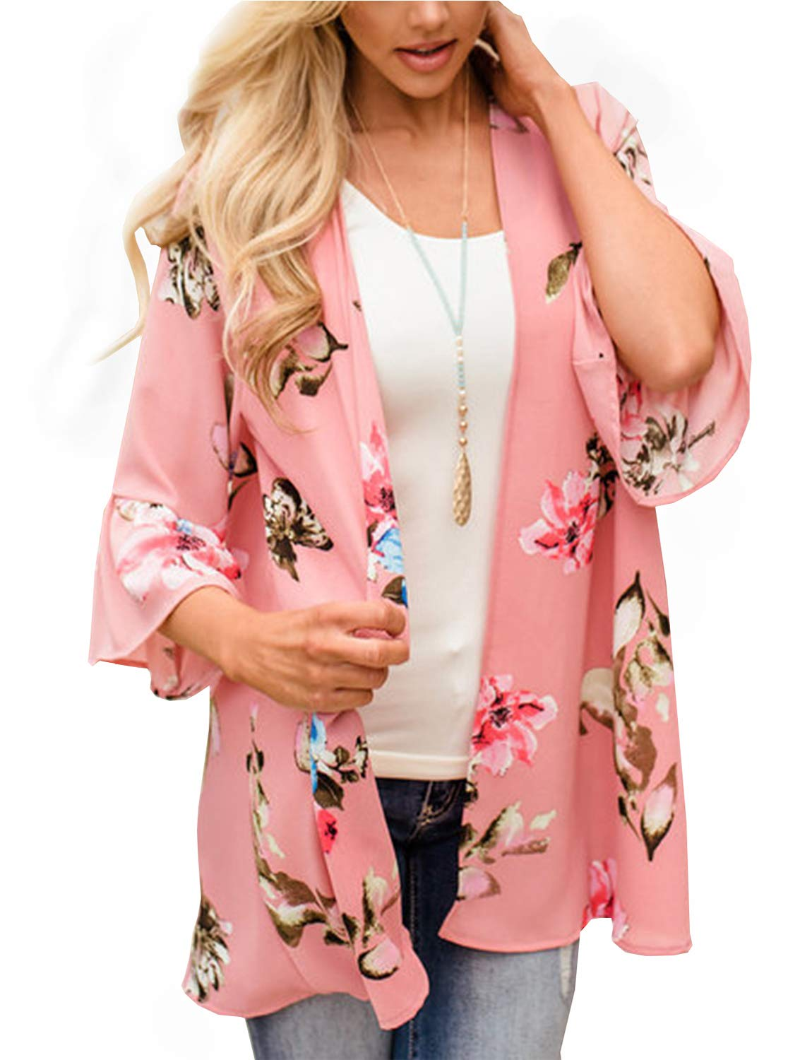 BB&KK 2018 New Floral Chiffon Kimono Open Cover Ups for Swimwear Women Boho Style Sheer Jackets for Women Shawls Street Wear Resort Wear (Pink Large)