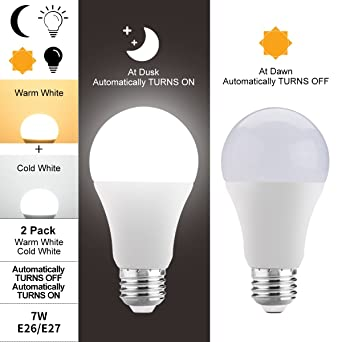 Bombillas LED sensor crepuscular,JUSIAL 7W larga vida bombillas LED con encendido / apagado automáticamente, Iluminación interior ...