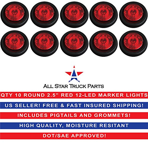 Qty 10 – 2.5″ Round 12 LED Red Light Truck Trailer Side Marker Clearance Grommet Kit