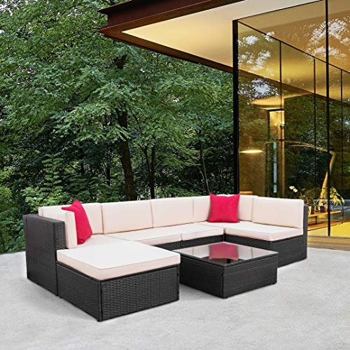 Tuoze 7 Pieces Patio Furniture Sectional Set Outdoor All-Weather PE Rattan Wicker Lawn Conversation Sets Cushioned Garden Sofa Set with Glass Coffee Table (Brown)