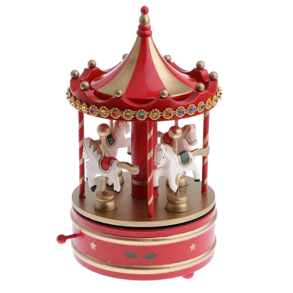 Sharplace Bo/îtes /à Musique Chevaux Musical Bois Plastique Carrousel Jouet Jeux pour Enfant B/éb/é Cadeau de No/ël Anniversaire F/ête Nouvel an Rouge