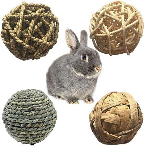 Hamiledyi Rabbit Ball Toys Bunny Treats Toys Rabbit Teething Toy Small Animal Chew Toys Grass Ball for Dwarf Hamster Bunny Rabbits Guinea Pigs Gerbils 4 Pack