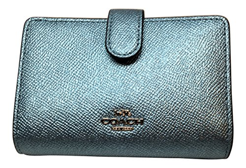 Coach Crossgrain Leather Medium Corner Zip Wallet F23256 Metallic ()