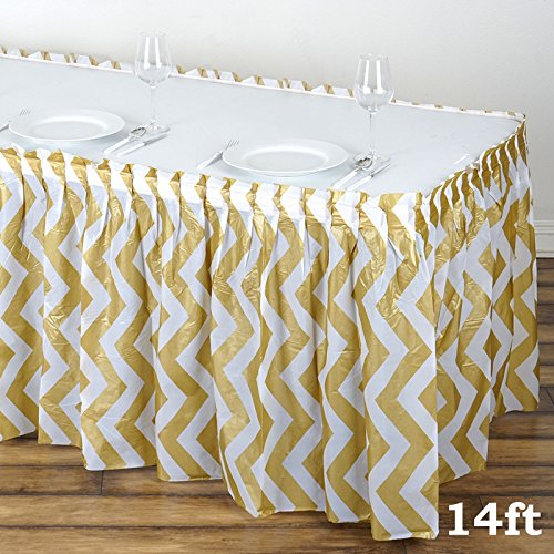(BalsaCircle 2 pcs 14 feet x 29-Inch Gold Plastic Chevron Table Skirts Wedding Party Event Decorations Catering Wholesale)