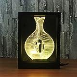 Ornerx 3D Illusion Lamp Photo Frame LED Night Light Vase