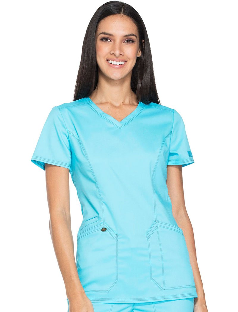 Dickies Essence Women's V-Neck Solid Scrub Top X-Large Turquoise