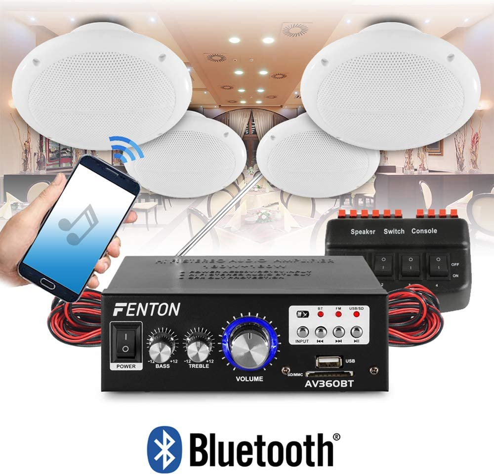 Em Bluetooth Amplifier Ceiling Speaker System Cafe Restaurant Shop Pair Speakers Electronics Photo