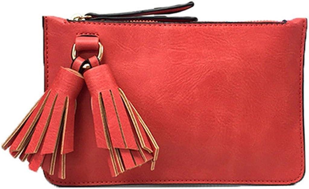 Melie Bianco Farah Vegan Leather Tassel Wristlet Crossbody Coral