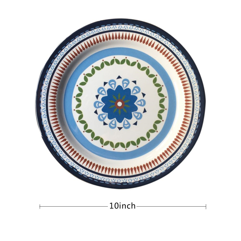 12 Pcs Melamine Dinnerware Set - Rustic Plates and bowls Set for Camping, Service for 4, Dishwasher Safe by Hware (Image #6)