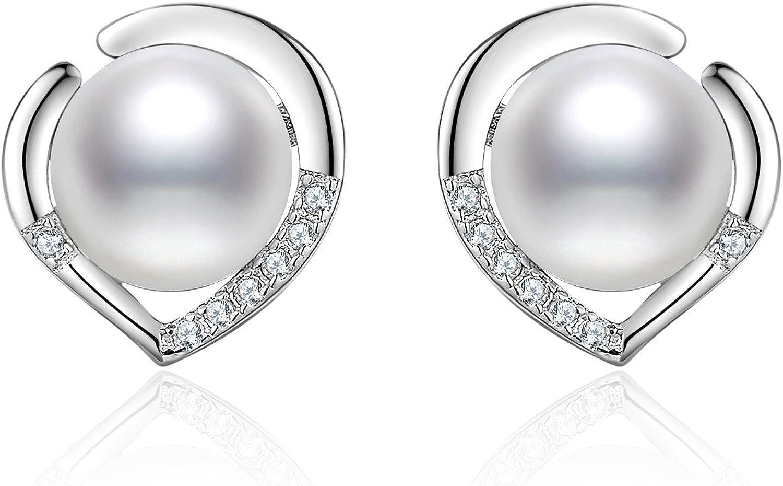 J.Vénus - Pendientes para mujer con perlas y aretes, juego Basic en plata de ley 925 con estuche