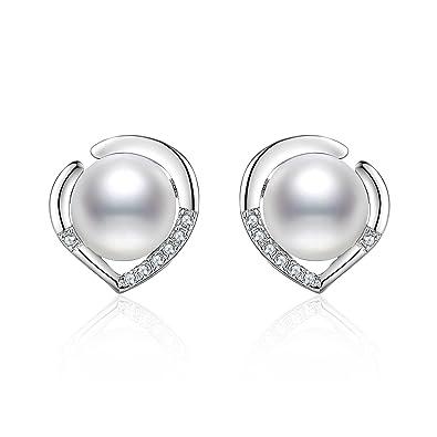 3506b19cc675 J.Vénus pendientes de las señoras Set plata de ley 925 básicos con perlas de