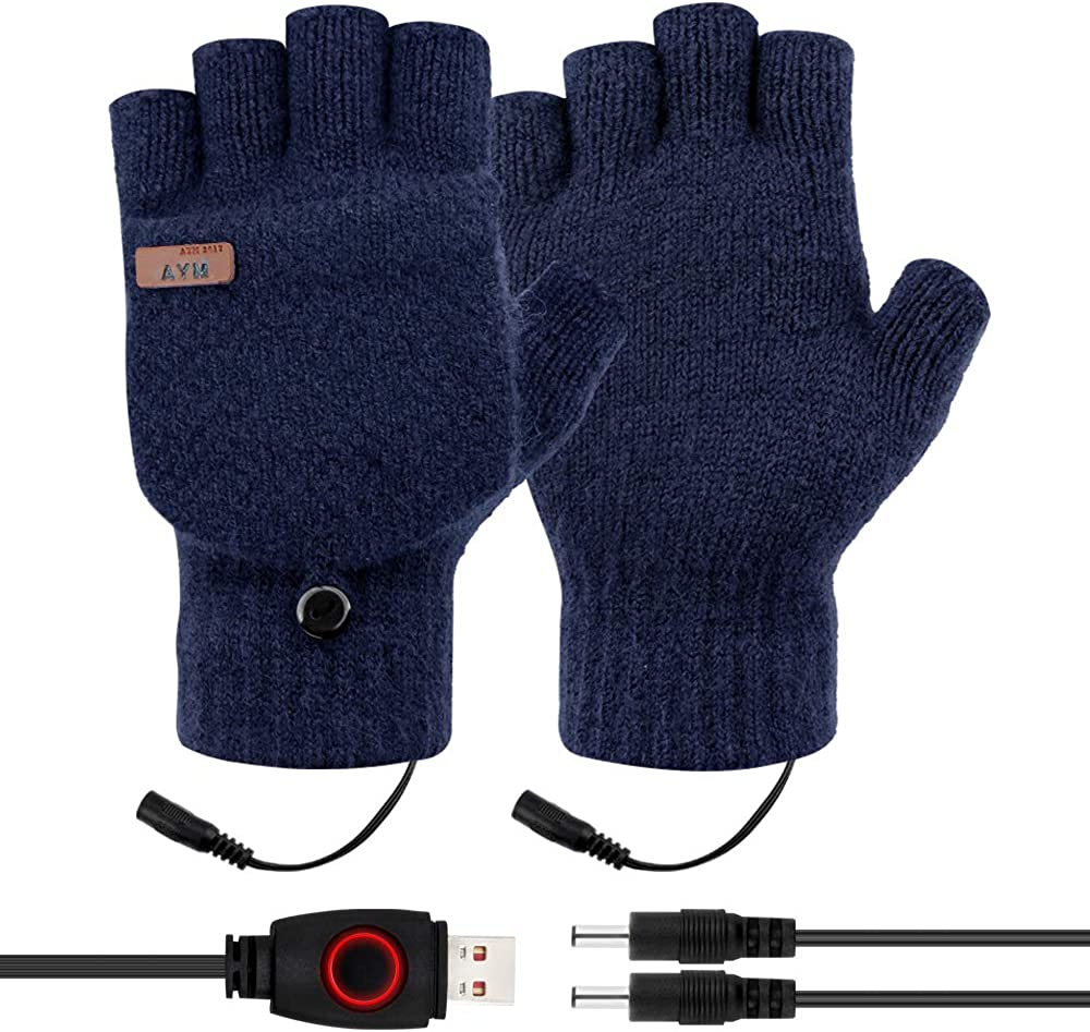 Unisex USB Heated Gloves, DreamCatching Winter Gloves, 3 Temp Settings, Women Men Half Fingers Knitting Gloves(Blue) at  Women's Clothing store