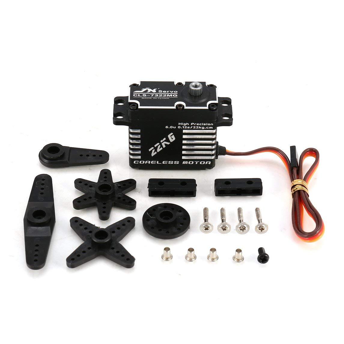Jasnyfall JX CLS-7322MG 22 KG Metalllenkung Digital Gear Coreless Servo für RC Car Schwarz