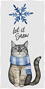 Pfrewn Cat with Scarf Blue Snowflake Hand Towels 16x30 in Bathroom Towel, Let is Snow Winter Ultra Soft Highly Absorbent Small Bath Towel for Hand,Face,Gym and Spa Christmas Bathroom Decor