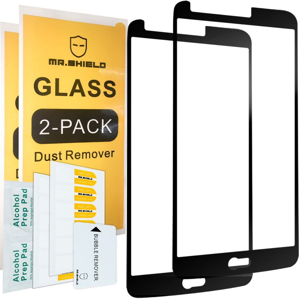 [2-Pack]-Mr.Shield for LG Stylo 3 [Tempered Glass] [FullCover] [Black] Screen Protector with Lifetime Replacement