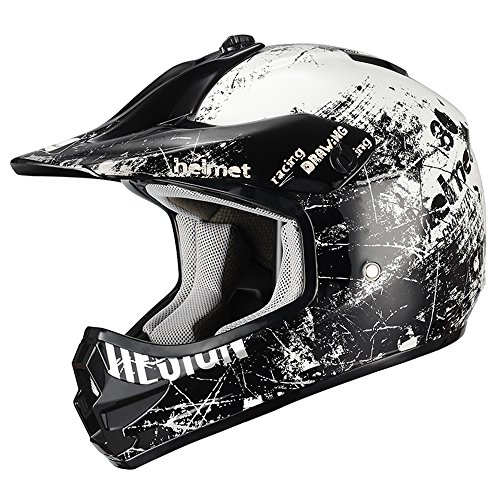Triangle Motorcycle Helmets Youth Off Road Sport ATV Motocross Dirt Bike [DOT] White (Large) ()