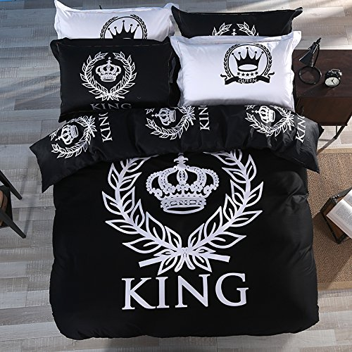TheFit Paisley Textile Bedding for Adult U432 Black White Queen Crown Duvet Cover Set 100% Cotton, Twin Queen King Set, 3-4 Pieces (King)