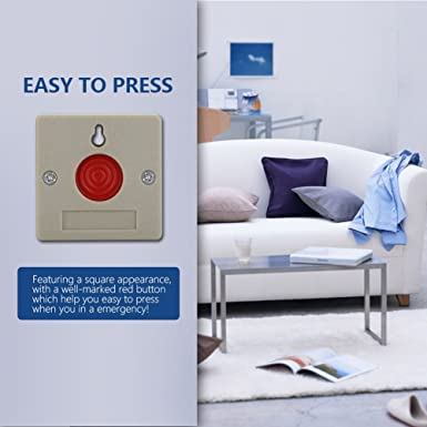 Bot/ón de Alarma de p/ánico Inal/ámbrico SOS Sistema de Alerta del Sistema de Alerta de Alarma de Emergencia inal/ámbrica para la Seguridad de Oficina hogar Zerodis