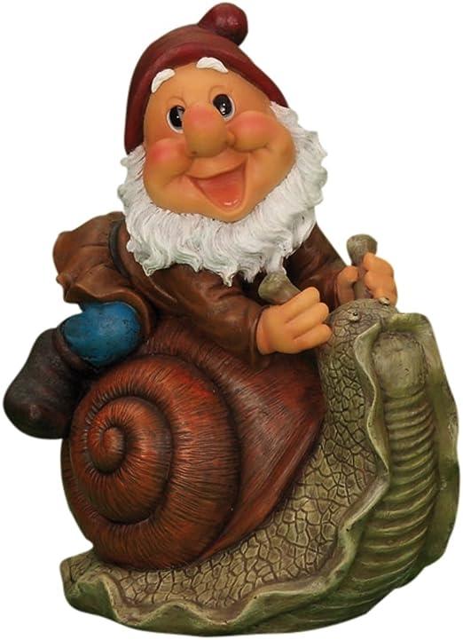 Figura decorativa para jardín de enanito subido a un caracol: Amazon.es: Jardín