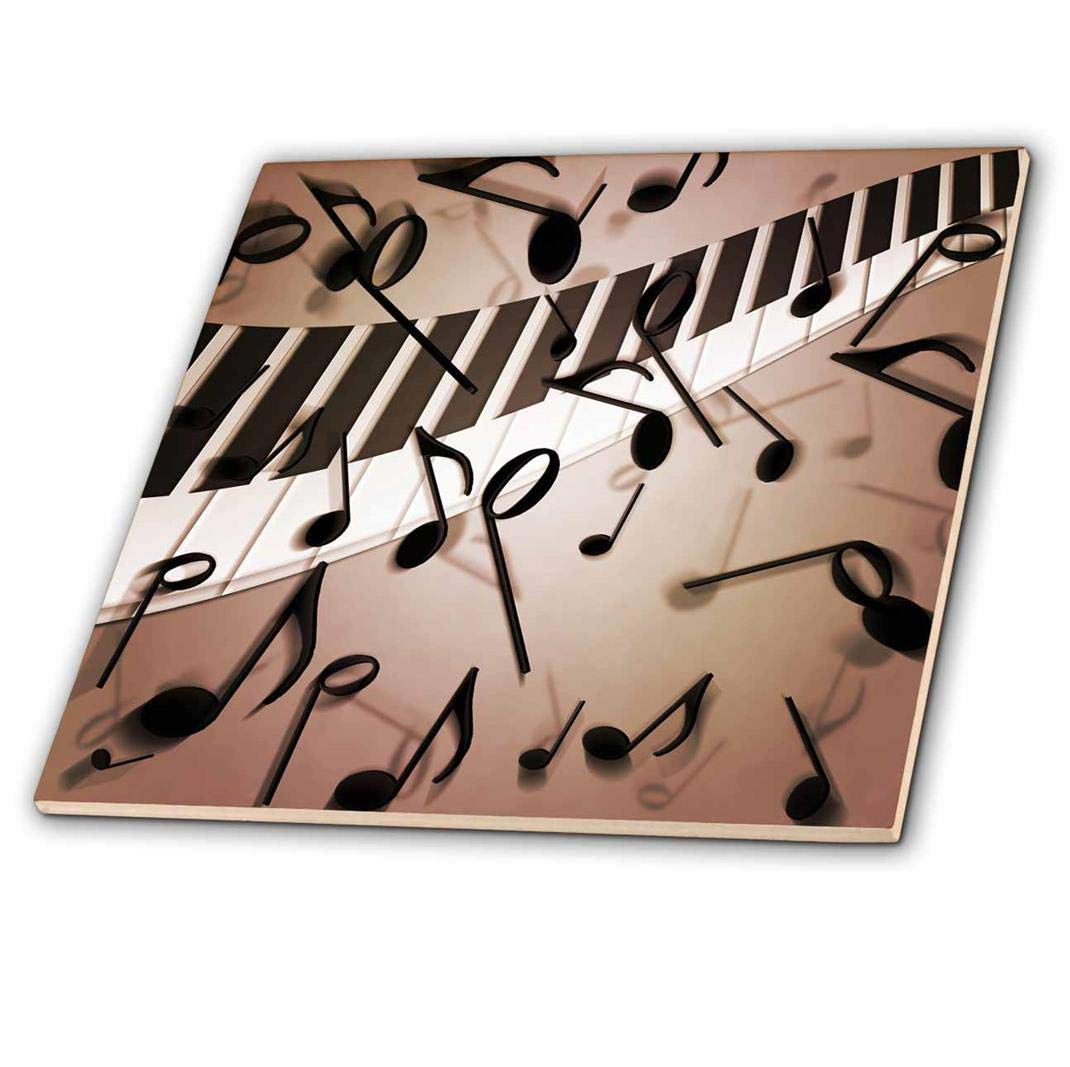6 3dRose ct/_213731/_2 A Scattering of Musical Notes Over A Wave of Piano Keys Ceramic Tile