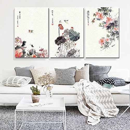 - wall26-3 Panel Canvas Wall Art - Chinese Ink Painting of Flowers and Birds - Giclee Print Gallery Wrap Modern Home Decor Ready to Hang - 16