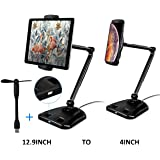 "Valkit Tablet Stand, Adjustable Ipad Stand with 360° Swivel, Tablet Holder Fits 4-12.9"" Display Tablet/Phones for Table Bedside Kitchen Office Desk Pos Kiosk Reception, Compatible with iPad, iPhone"