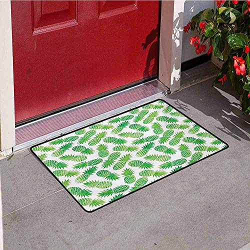 - Jinguizi Pineapple Front Door mat Carpet Ombre Watercolor Scattered Pineapples in Different Directions on Plain Pattern Machine Washable Door mat W19.7 x L31.5 Inch Green White