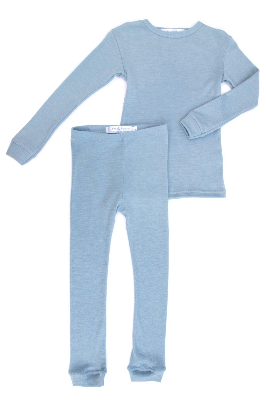 Merino Wool Kids BLUE pajama set. Thermal underwear base layer PJ unisex. Size 6