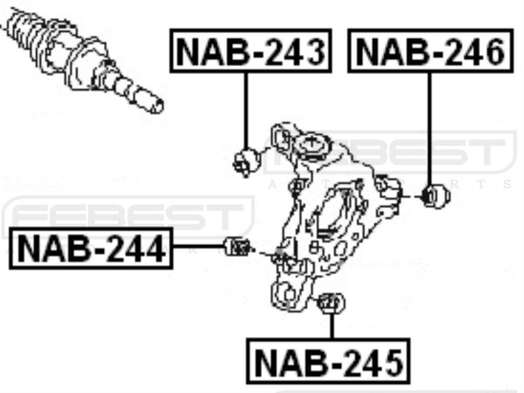 FEBEST NAB-244 Rear Arm Bushing Assembly