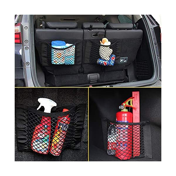 613w4qZovML NETUME Netztasche Auto Kofferraum Organizer Klett, 2 Stück Elastische Kofferraumtasche Netz Rücksitztasche Auto für…