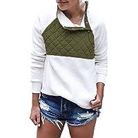 PRETTYGARDEN Women's Warm Long Sleeves Oblique Button Neck Splice Geometric Pattern Fleece Pullover Coat Sweatshirts Outwear