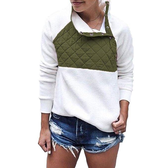 hot sale online db54c c3025 PRETTYGARDEN Women's Warm Long Sleeves Oblique Button Neck Splice Geometric  Pattern Fleece Pullover Coat Sweatshirts Outwear
