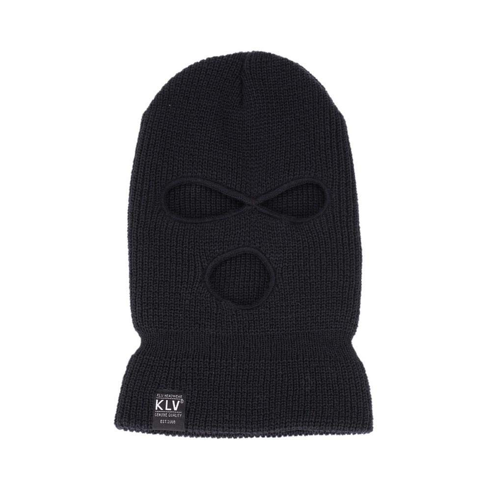 KOBWA Knitted Long Neck 3-Hole Full Face Cover Cap, Outdoor Full Face Cover Thermal Ski Mask for Winter(Black)