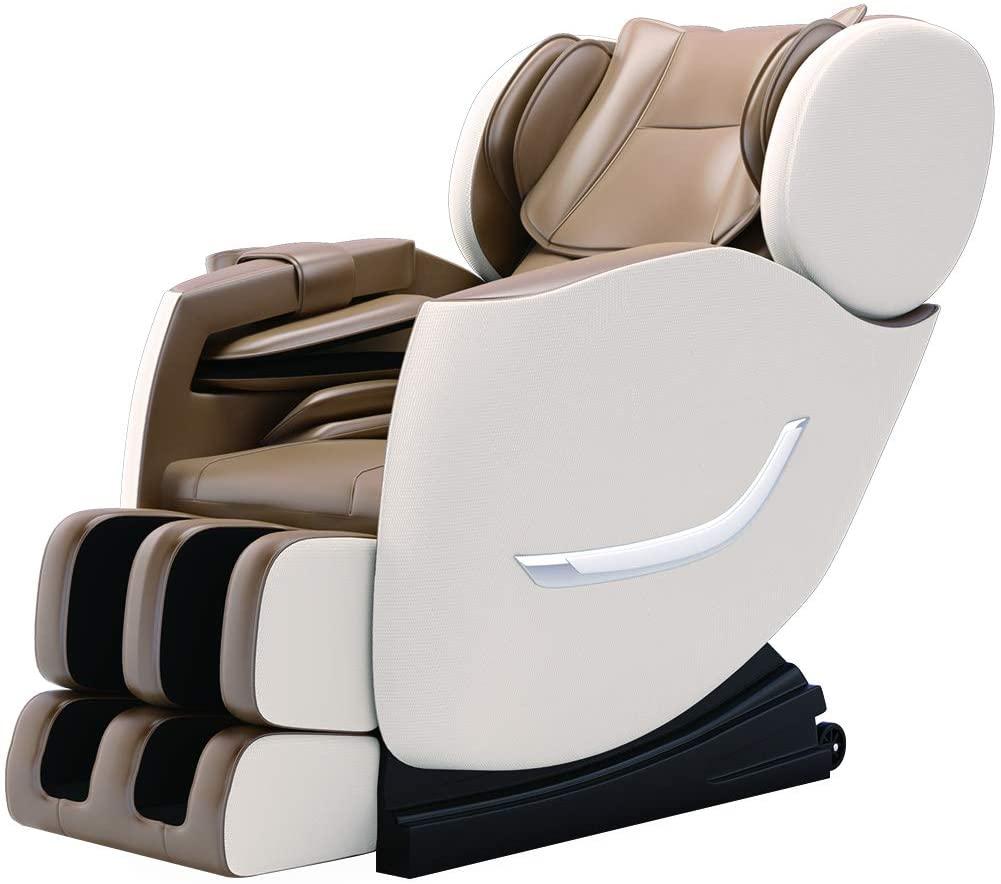 SMAGREHO 2020 New Full Body Electric Zero Gravity Shiatsu Massage Chair with Bluetooth Heating and Foot Roller for Home and Office(Khaki)