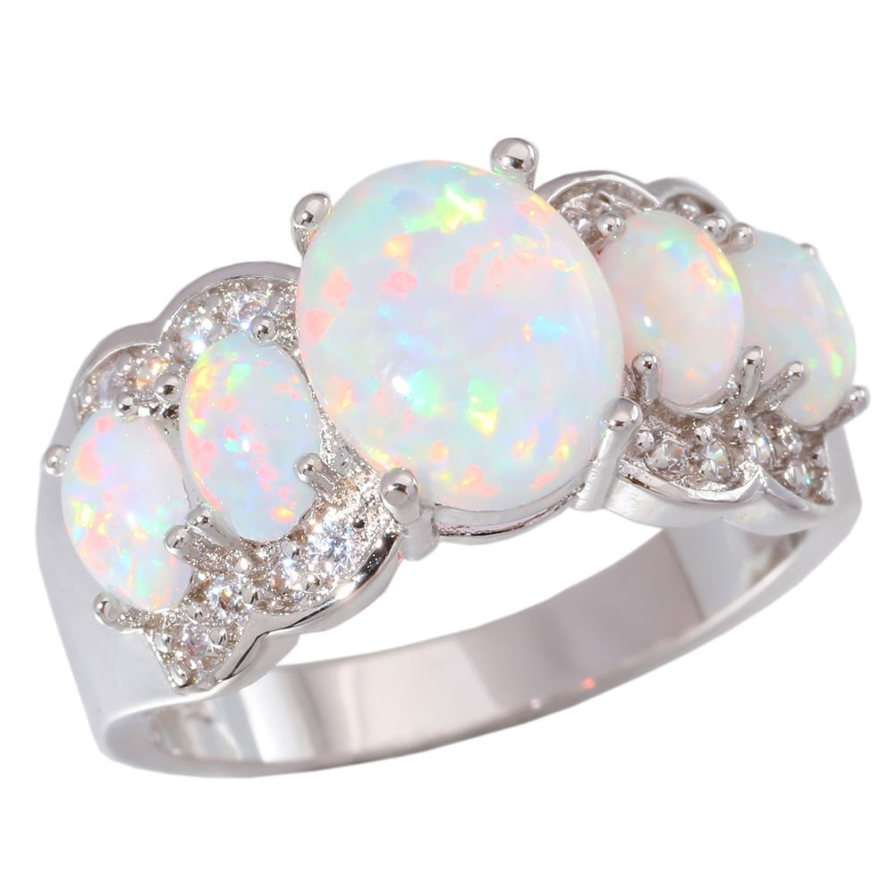 CiNily Created White Fire Opal Zircon Women Jewelry Gemstone Rhodium Plated Ring Size 5-12 Shenzhen Xi En Jewelry co. ltd OJ4360