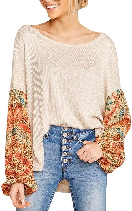 ADSHOP - Camisa descontrachapada con Cuello en V Jersey de Ganchillo para Mujer Naranja S: Amazon.es: Ropa y accesorios