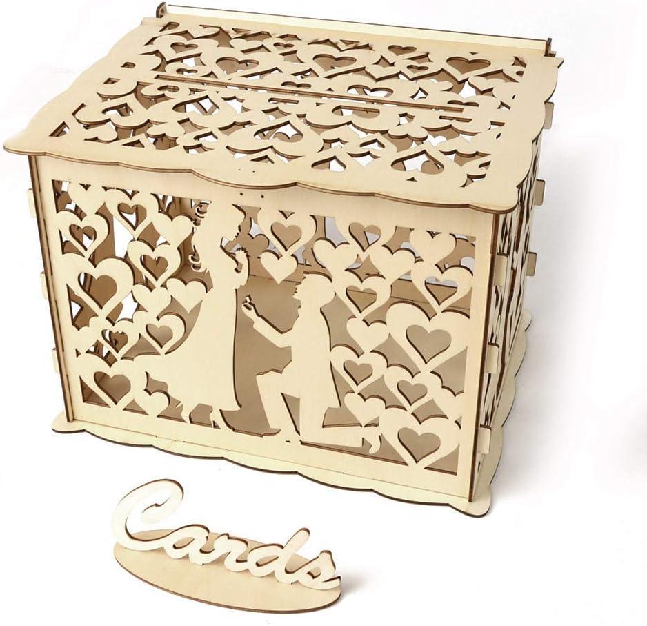 TOPmountain Wedding Card Box,Creative Wedding Money Box Party Celebration Gift with Lock Elegant