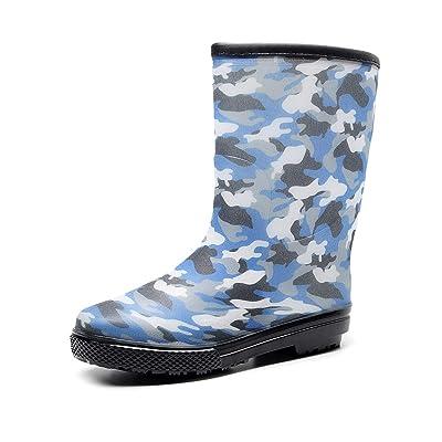 bill.xlong Men's Mid-Height Rain Boots Size 9, Blue Camo Waterproof Rubber Boots for Women, Ankle Work Garden Farm Shoes Outdoor Anti Slip Rain Footwear (Adult Unisex)   Rain