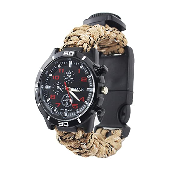 Survival Military Mens Watches - Multifunction Compass Paracord Rope Hand-Woven Watches for Boys,