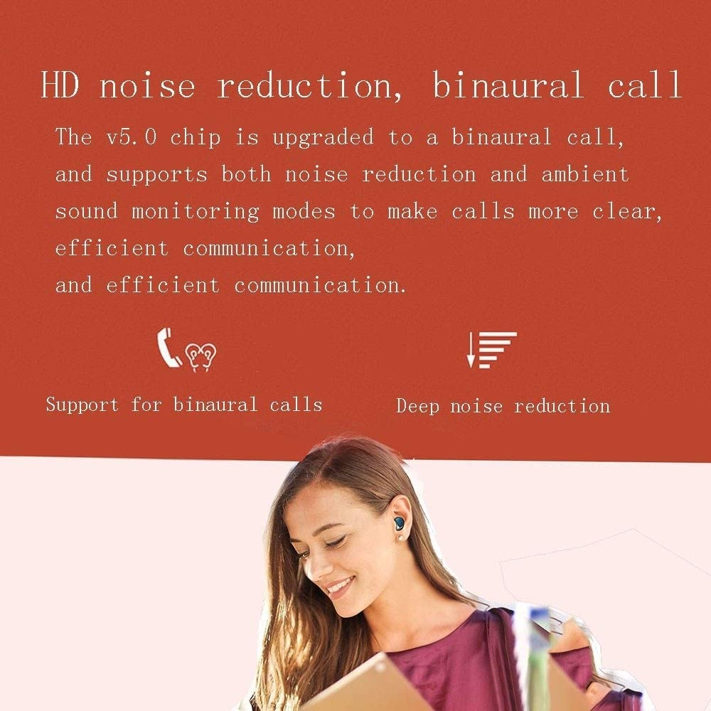 LXESWM Bluetooth-hoofdtelefoon, in-ear hoofdtelefoon, draadloos, bluetooth, hifi-hoofdtelefoon, stereo, HD Smart Touch Control, IPX5, waterdicht C