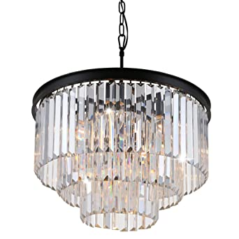Odeon Crystal Chandelier 9 Lights Round Pendant Hanging Light Crystal Prism Chandeliers Lighting Black Finish D19  sc 1 st  Amazon.com & Odeon Crystal Chandelier 9 Lights Round Pendant Hanging Light ...