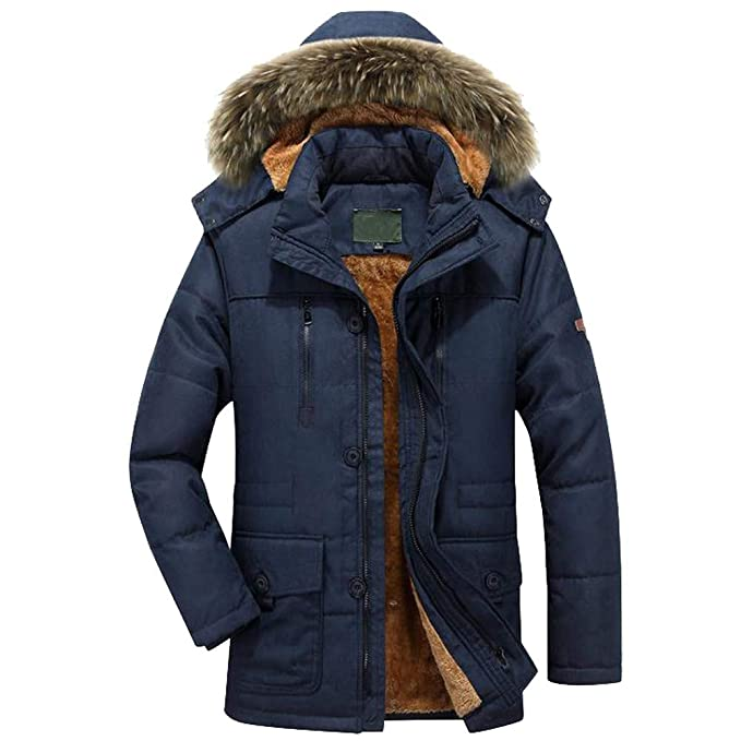 waotier Parka Hombre Invierno cálido Abrigo con Capucha ...