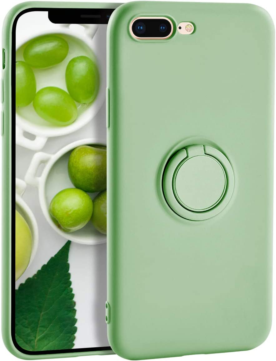 iPhone 8 Plus Case Silicone iPhone 7 Plus Case,Yoopake Liquid Silicone Case with Ring Holder Kickstand Work with Magnetic Car Mount Shockproof Soft Slim Fit Phone Cover Case for Apple 7 Plus,Green