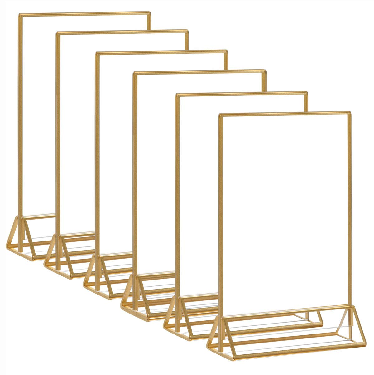 HIIMIEI Acrylic Gold Frames Sign Holders 8.5x11, Double Sided Table Menu Display Stand, Gold Acrylic Wedding Table Numbers Holder(6 Pack)