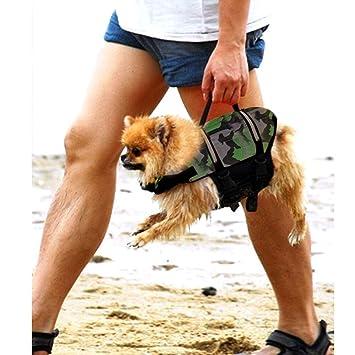 AOLVO - Chaleco Salvavidas para Perro, diseño Flotante, para natación, no tóxico, Ajustable, Transpirable, ecológico, con Banda Reflectante para Perro: ...