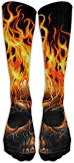 Jxrodekz Skull Flame Fire Long Novelty Calf High Athletic Sock Outdoor Gift