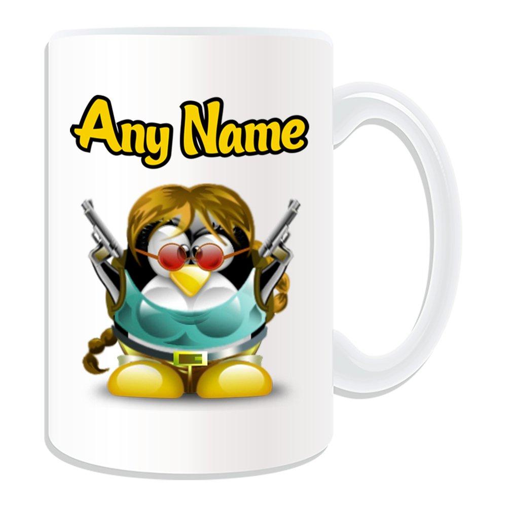 Personalizado Regalo - Taza, diseño de Lara Croft grande (pingüino ...