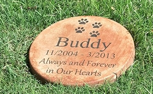 Personalized Pet Memorial Step Stone 11'Diameter' 'Always and Forever in Our Hearts